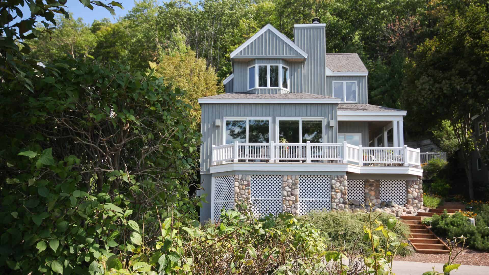 Home exterior of custom home at the Homestead in Glen Arbor