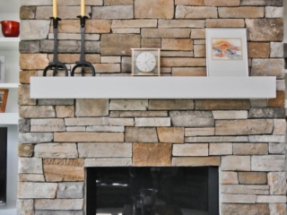 Homestead Property Remodel Stone Fireplace