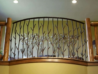 Custom railing designed and made by Lakeshore Custom Homes