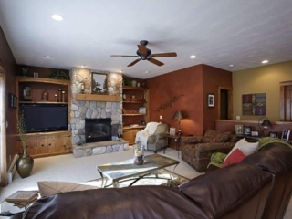 Living room interior, custom home located in Traverse City, Michigan
