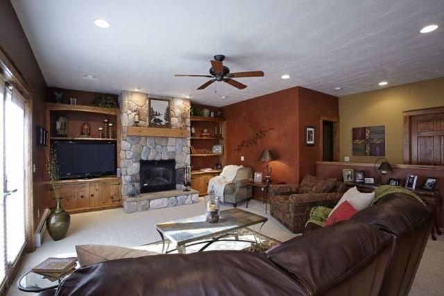 Living room interior, custom home located in Traverse City, Michigan