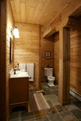 Bathroom finished with knotty pine