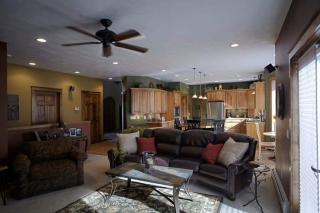This custom home features an open floorplan