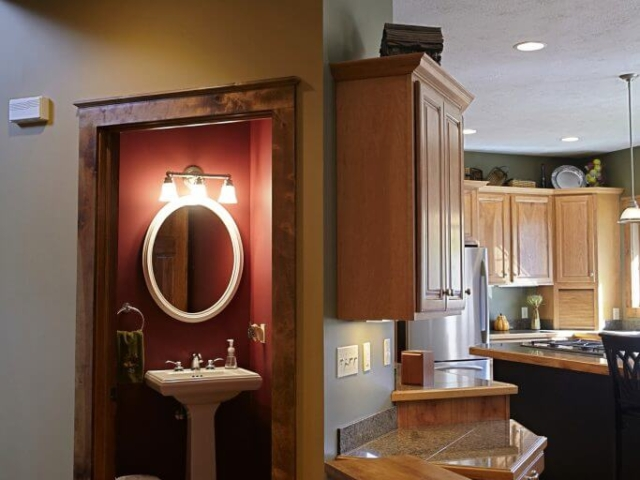 Guest bath and view of kitchen