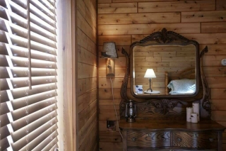 knotty pine paneling in the bedroom
